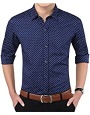 b703a6e5e71 YTD Mens 100% Cotton Casual Slim Fit Long Sleeve Button Down Printed Dress  Shirts (
