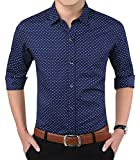 YTD Mens 100% Cotton Casual Slim Fit Long Sleeve Button Down Printed Dress Shirts US M Navy Blue