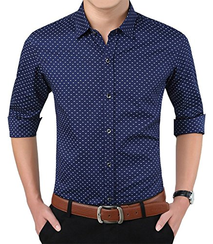 YTD Mens 100% Cotton Casual Slim Fit Long Sleeve Button Down Printed Dress Shirts US XS Navy ()