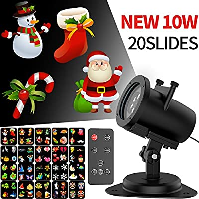 YH Christmas Projector Lights LED Projection Light Landscape Spotlight for Outdoor Holiday gobos Decoration (10W 20SLIDES)