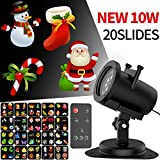 Halloween Chrismas Projection Lights for Outdoor LED Projector Light IP65 Waterproof, Landscape Spotlight for Indoor Outdoor Holiday Remote Control Motion Image -10W 20 Slides 32ft Power Cable