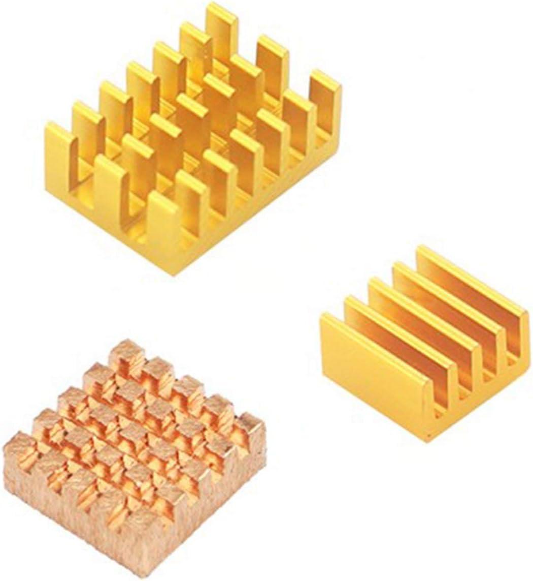 OIUY pour Raspberry Pi 4 mod/èle B dissipateur de Chaleur 3 pi/èces Raspberry Pi 4B cuivre Coussin de Refroidissement radiateur radiateur Kit de Refroidissement Refroidisseur