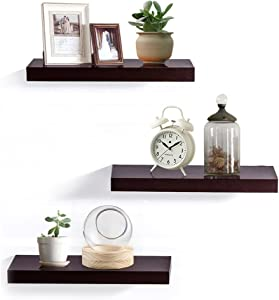 """AHDECOR Floating Wall Mounted Shelves, Set of 3 Display Ledge Shelves Wide Panel for Bedroom Office Kitchen Living Room, 5.9"""" Deep, Espresso Brown"""