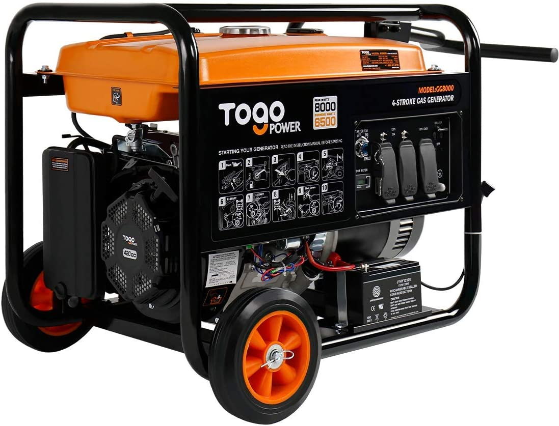 TogoPower Portable Gas Generator with Electric Start – 8000 Peak Watts CARB Compliant Backup Home Use RV Ready Camping Generator with Rain Cover