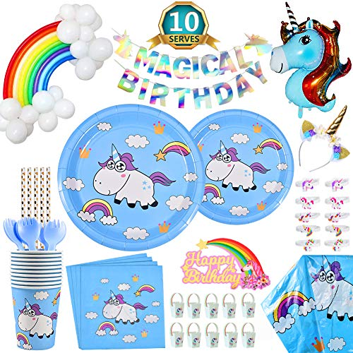 Rainbow Unicorn Party Supplies Set, 128 Pack Birthday Supplies Include Unicorn Headband, Banner, Plates, Cups, Napkins, Straws, Tablecloth, Unicorn Magical Balloon, Cake Topper, Gift Bag, Serves -