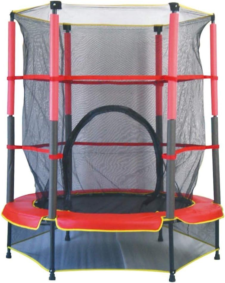 Trampolines HUAGUOSHAN Cama Elástica Diámetro 140cm, y Muelles Resistentes hasta 50kg Color Rojo Set con Superficie de Salto, Red de Seguridad, Postes Acolchados, Resistente a la Intemperi