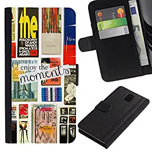 iKiki Tech / Cartera Funda Carcasa - Books Reading Print Text Cover - Samsung Galaxy Note 3 N9000 N9002 N9005