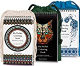 Coloring-On-The-Go Coloring Books Set for Adult & Grownups –222 HR Coloring Pages W/Durable Designed Pouch & Hardcover Spiral Bound Format- Portable DIY Craft Creative Kit - Be Creative Everywhere!