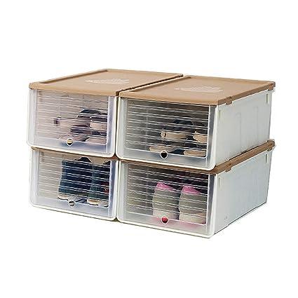 LJF Caja de Zapatos de Almacenamiento de plástico Transparente, Caja de Zapatos de 5 Colores