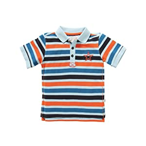 Rockin' Baby Big Boys Multi Color Striped Pattern Star Polo Paul Tee 8-10