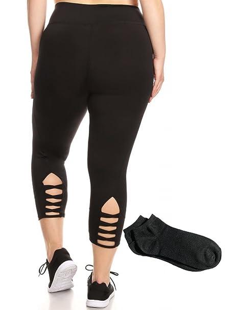 Womens Pius Size Everyday Active Yoga Plus Size High Waist Sport Basic Leggings and Capris w/Free Socks
