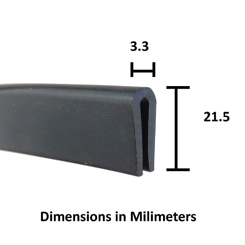 Black U Channel Edge Trim Seal EPDM 8.7mm High x 4.8mm Wide 1 Meter