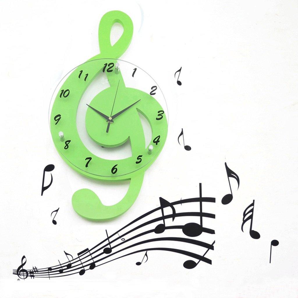 ミュージカルノートクロックリビングルームウォールクロックファッションクリエイティブ時計パーソナリティクォーツ時計庭装飾ミュートアートクロック20インチ (色 : 緑) B07F1BW1ZF 緑 緑