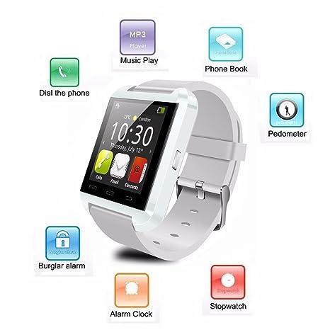 U8 - Reloj Inteligente con Bluetooth para Deporte, con Alarma, Reproductor de Música,