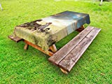Lunarable Safari Outdoor Tablecloth, Two Cheetahs in Africa Nature Grass Dangerous Animals Hunters Rainy Weather Picture, Decorative Washable Picnic Table Cloth, 58 X 120 inches, Multicolor
