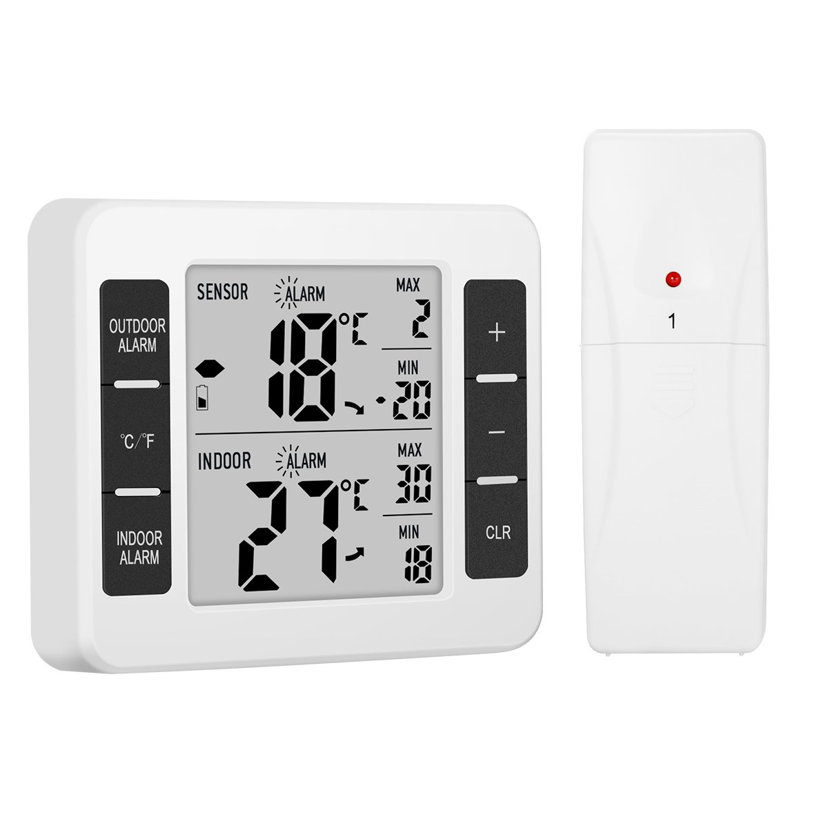 Glisteny Digital Thermometer, Indoor&Outdoor Thermometer,Home Hotel Refrigerator Thermometer for Home Comfort, Min/Max Records,With a Remote Sensor(Not Waterproof) Glisteny Co. Ltd