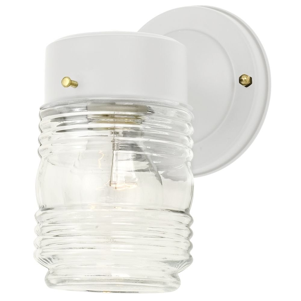 Jelly jar outdoor wall light with clear glass in white finish jelly jar outdoor wall light with clear glass in white finish wall porch lights amazon arubaitofo Image collections