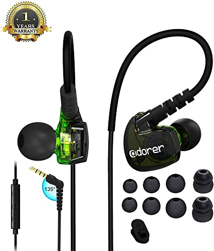 Wired Sport Earphone Running Earphone with Microphone and Remote Sweatproof and Noise-Resistant in Ear Earphone for Running Gym Jogging Green