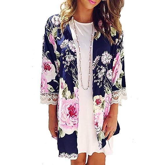 Moda Mujeres Casual Chal ImpresióN Kimono Cardigan Tapa Superior De La Blusa,Beikoard Impresión Encaje