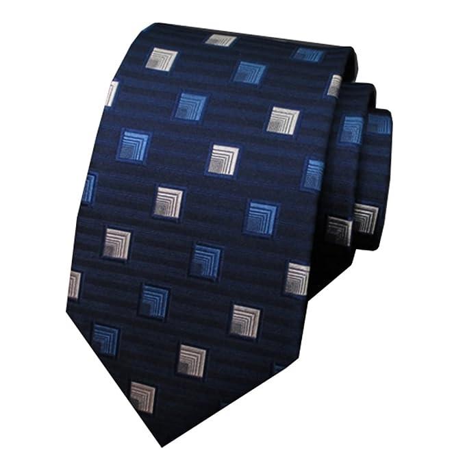 YYIILL Empate Corbata de hombre Corbata azul cuadrada Patrón Moda ...