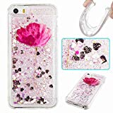 iPhone SE/5S/5 Case, UZER Cute Bling Quicksand Moving Flowing Floating Luxury Twinkle Glitter Shining Sparkle PC Hard Slim Thin TPU Bumper Liquid Case for iPhone SE/5S/5