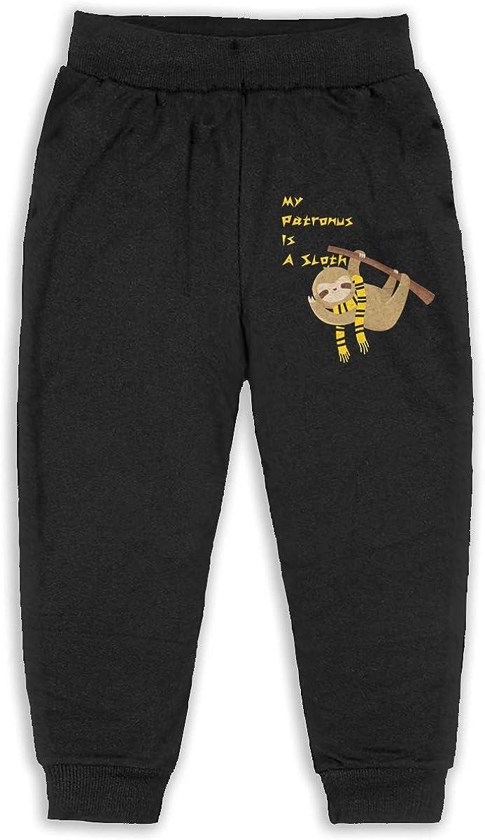 Kid My Patronus is A Sloth Boys Girls Sweatpants Stretch Pants Back Pocket Black
