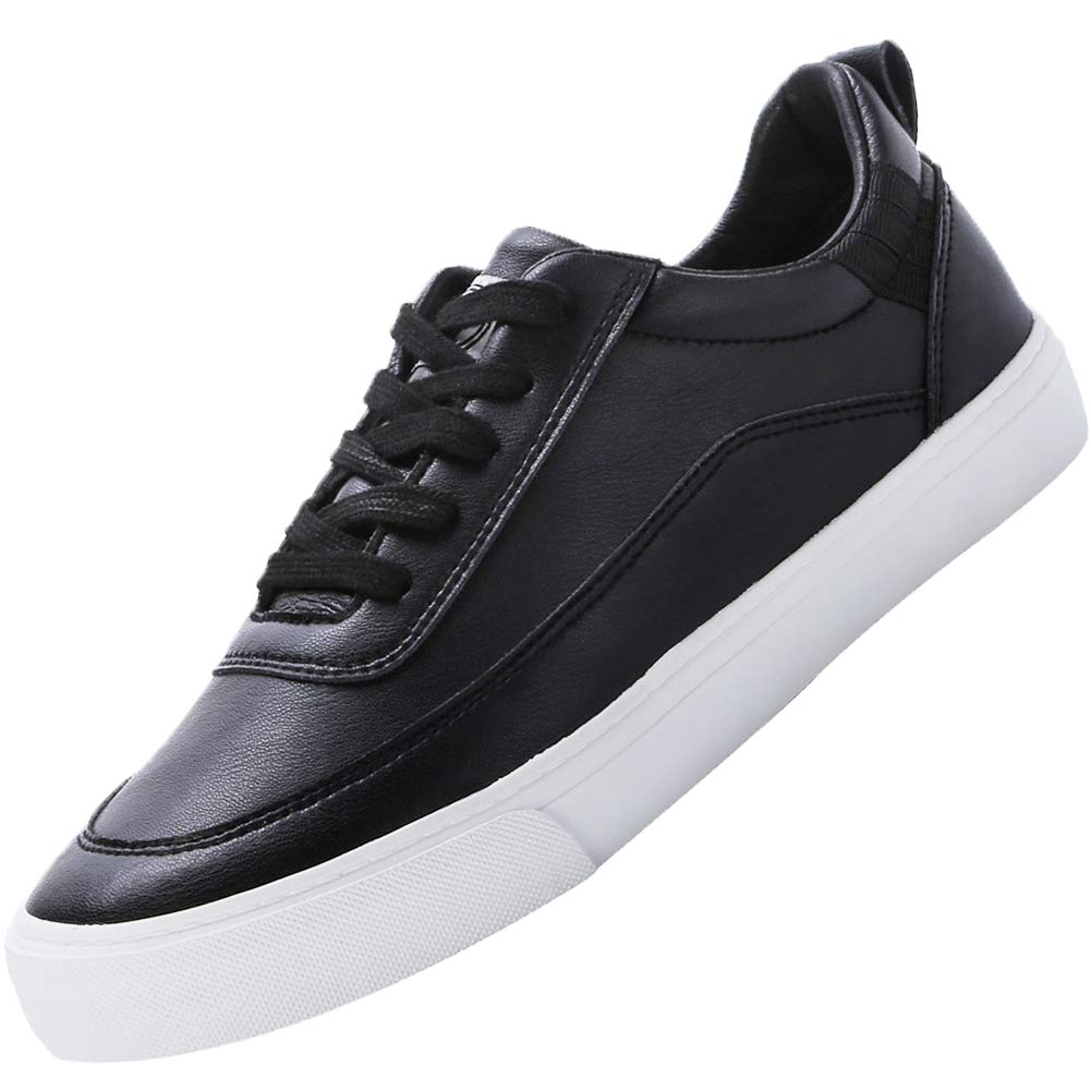 Camel Crown Fashion Court Sneaker for Men White Black Skate Shoes Leather Lace up Casual Classic Walking Sport Shoes (Black 8 D(M) US)