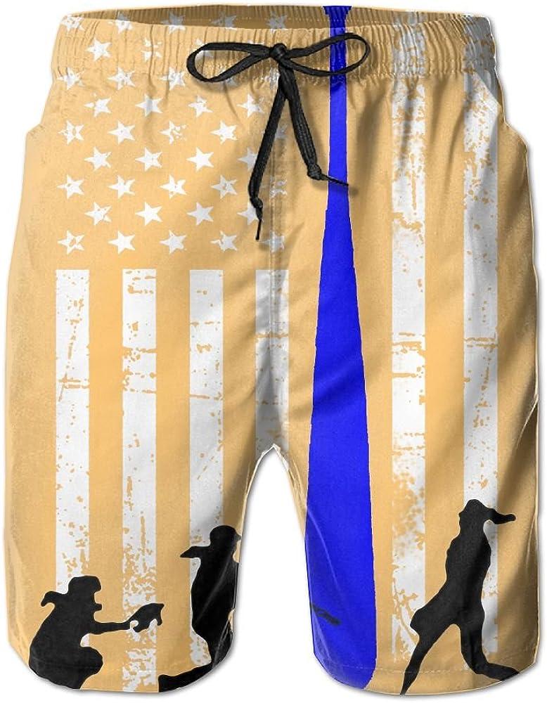 JIA LI Mens Board Shorts Blue Thin Line Softball Summer Printed Quick Dry Bathing Suits Swimwear Swim Trunks Beach Shorts