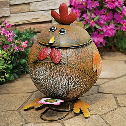 Bits and Pieces - Rooster Trash Can-Side by side Painted Functional Metal Sculpture - Waste Basket Great Decorative Accent