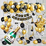Luxury Birthday Party Decorations with Happy Birthday Banner in Gold Metallic, Black Gold Silver Confetti Balloons Supplies, Crown Beer Foil Balloons for 18th 21th 30th 40th 50th 60th Birthday Party