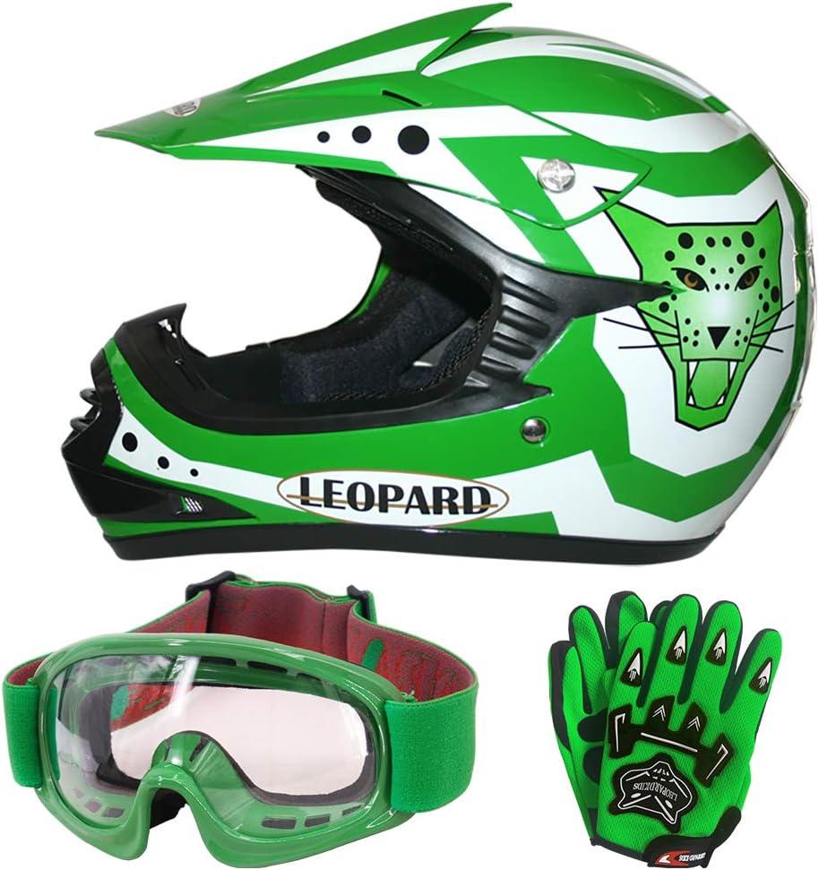 Leopard Leo X17 Grün Kinder Motorrad Helm M 51 52cm Handschuhe M 6cm Zorax Brille Kinder Motorradhelm Full Face Mx Helmet Mädchen Jungen Dirt Bike Auto