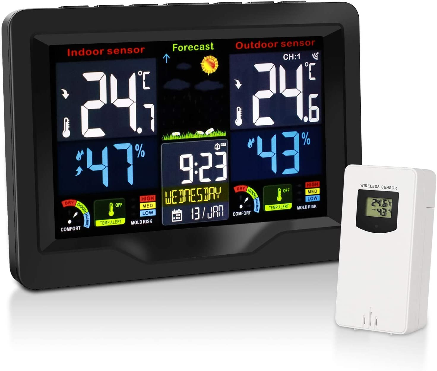 Weather Stations Wireless Indoor Outdoor Thermometer and Humidity Monitor, LCD Color Display Digital Weather Forecast Station with Calendar Dual Alarm Adjustable Backlight for Home, Bedroom, Office