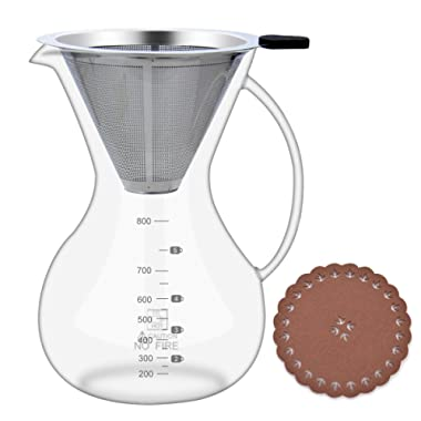 Pour Over Coffee Maker with Coffee Filter, Glass Carafe (28oz/800ml) with Coffee Dripper, BPA-free Certificate Drip Coffeemakers
