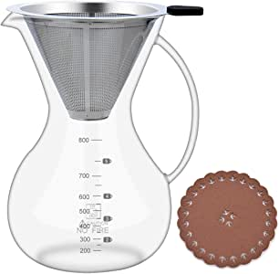 28oz//800ml with Coffee Dripper Glass Carafe Pour Over Coffee Maker with Coffee Filter BPA-free Certificate Drip Coffeemakers