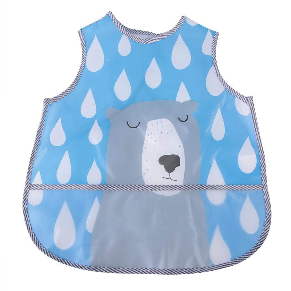 sin mangas 1# caricatura impermeable ropa de cama con bolsillo grande chaleco de alimentaci/ón para beb/és Babero de beb/é