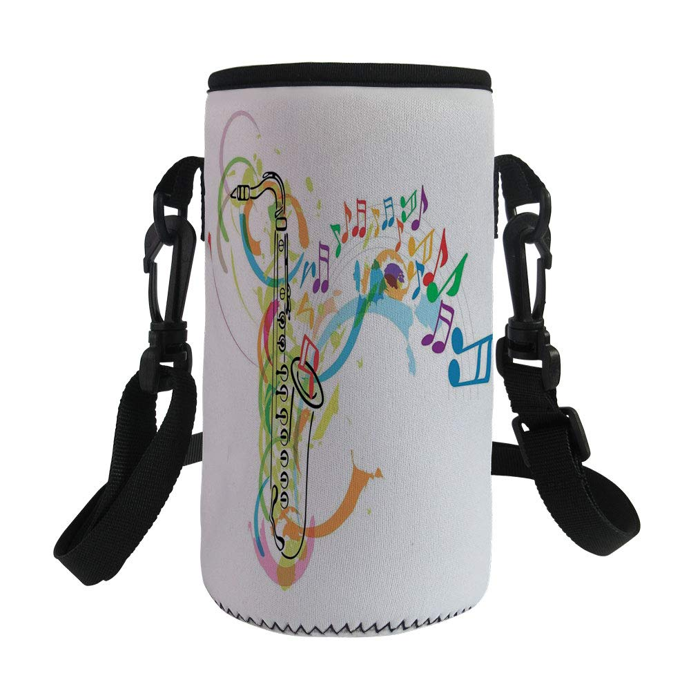 Small Water Bottle Sleeve Neoprene Bottle Cover,Jazz Music Decor,Colored Illustration of Saxophone with Wavy Notes in the Air Fun Vibes Retro Boho,Multi,Great for Stainless Steel and Plastic/Glass Bot