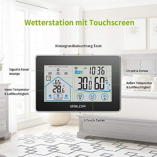 Funk-Wetterstation Anzeige von Innen-/& Außentemperatur,Raum-Luftfeuchtigkeit