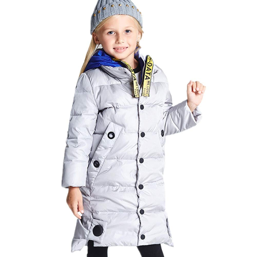 Ideal Childrens Winter Coat Kids Girls Winter Long Coat Down Jacket Duck Down Filling Contrast Color Stand Collar Outwear