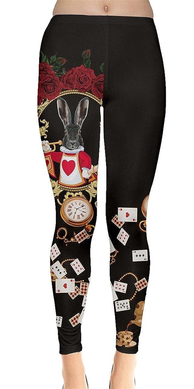 Alice Rabbit Dark CowCow Womens Animal Digital Print Dog Cats Horses Pigs Hippo Sheep Rabbit Panda Leggings, XS5XL