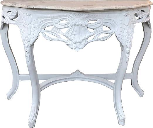 Casa Padrino Baroque Mesa Consola Blanca/Crema con encimera de ...