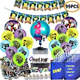 TOYOYO Video Game Birthday Party Supplies Set for Game Fans (99Pcs), Video Game birthday Party Favor Bags Goodie Bags Banner Decorations, Birthday Party Balloons, Cupcake Toppers, Stickers, Game Party Favors.
