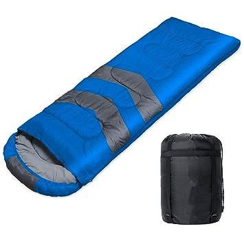 WERTYCITY Saco de Dormir para Acampada, 3 Estaciones, cálido y Fresco, Resistente al