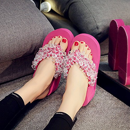 Beach Heels Sandals JULY Holiday High Flops Flip T Women's Beaded Crystal Summer Rose with q4aSytH