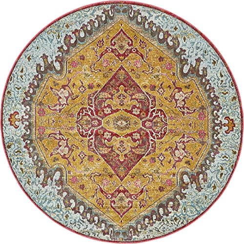 A2Z Rug Gold 5' 5 Feet Round St. Tropez Collection Traditional and Modern Area Rugs and -