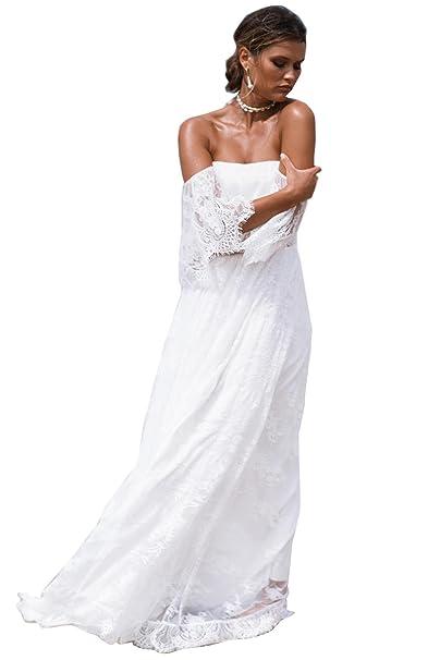 Matrimonio Bohemien Uomo : Dressvip abito da sposa di pizzo bohemien stile beach lungo per