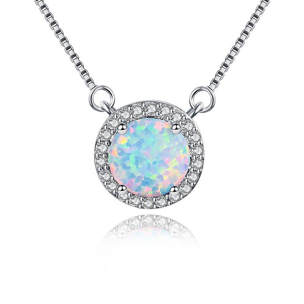 MASOP Australian 8mm Opal Choker Necklace for Women Girls Halo Cubic Zirconia Round Gemstone Pendant 14'' + 1'' by MASOP VOGU (Image #3)