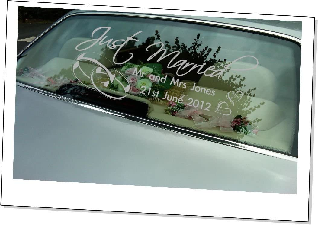 Personalised Just Married Car Window Wall Decal Vinyl Sticker Stencil Art Mural