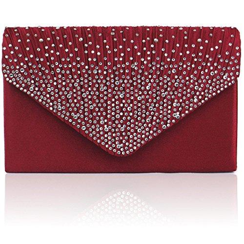 donna per per motivo da abiti Sera Zarla Rosso donna grande Bordeaux con sera da con borsa da feste busta PtqwwE4