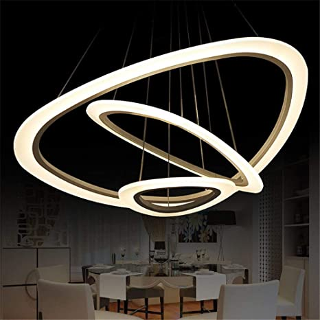 DEVOL LED Chandelier Modern Pendant Light With 3 Rings Round Ceiling  Fixture Adjustable Pendant Lighting Contemporary