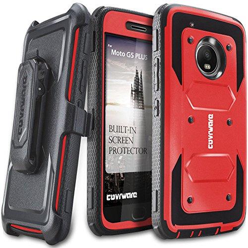 Moto G5 Plus Case, COVRWARE [Aegis Series] w/Built-in [Screen Protector] Heavy Duty Full-Body Rugged Holster Armor Case [Belt Swivel Clip][Kickstand] for Moto G5 Plus, Red